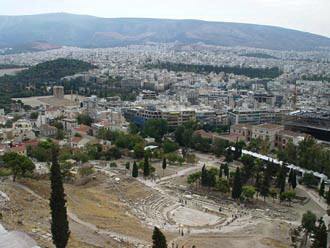 View from Acropolis (Dionysos theatre and further the Temple of Olympian Zeus)