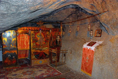 In the Cave of the Apocalypse. Click to jump to the monastery website